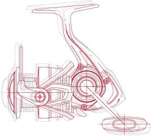 Die roten Linien zeigen die kompaktere Bauweise der Daiwa LT Rollen im Vergleich zu seinem Vorgänger.